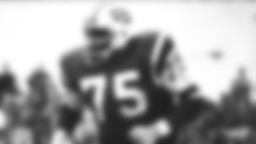 Winston Hill #75 of the New York Jets against the buffallo bills