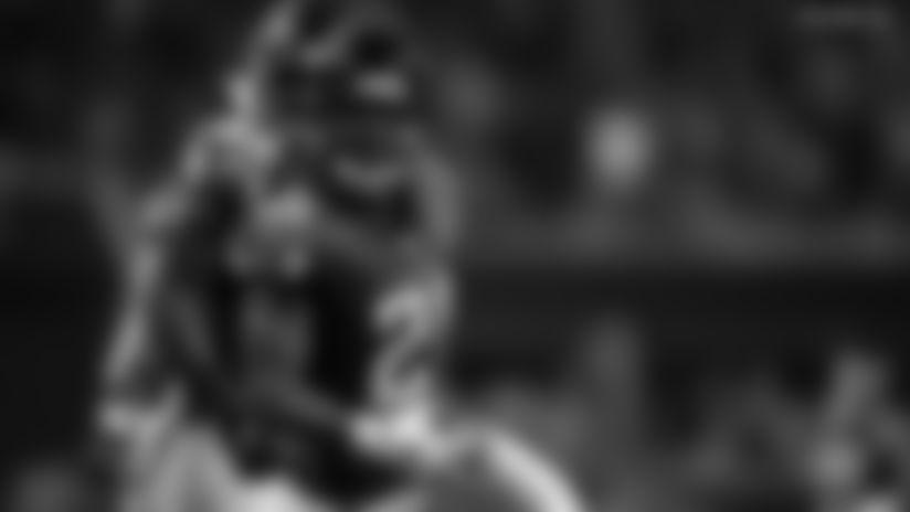 Atlanta Falcons cornerback Desmond Trufant (21) celebrates his interception during an NFL football game against the Philadelphia Eagles, Sunday, Sept. 15, 2019 in Atlanta. The Falcons won 24-20. (Paul Abell via AP)