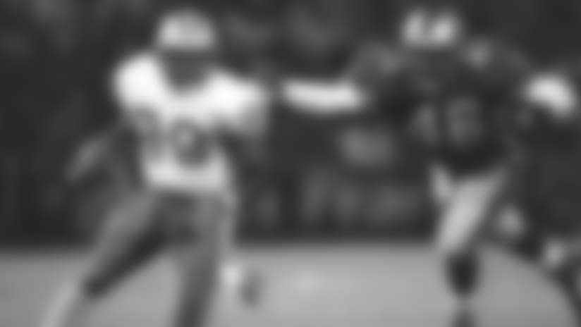 Detroit Lions running back Barry Sims (20) heads downfield during an NFL game against the San Francisoc 49ers, 1998, San Francisco.  (AP Photo/Greg Trott)