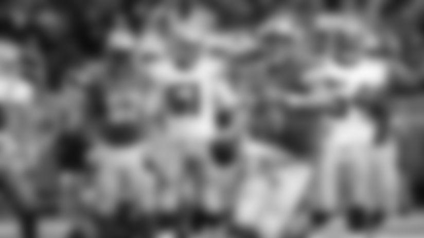 Detroit Lions quarterback Matthew Stafford (9) celebrates his game-winning touchdown against the Dallas Cowboys in 2013.