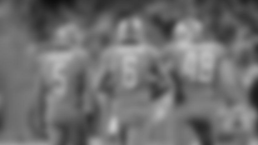 Detroit Lions kicker Matt Prater (5), Detroit Lions punter Sam Martin (6) and Detroit Lions long snapper Don Muhlbach (48) against the Chicago Bears in 2019.