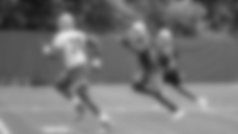 Detroit Lions cornerback Jamal Agnew (39) returns an interception during Day 1 of minicamp on Tuesday, June 4, 2019 in Allen Park, Mich. (Detroit Lions via AP)