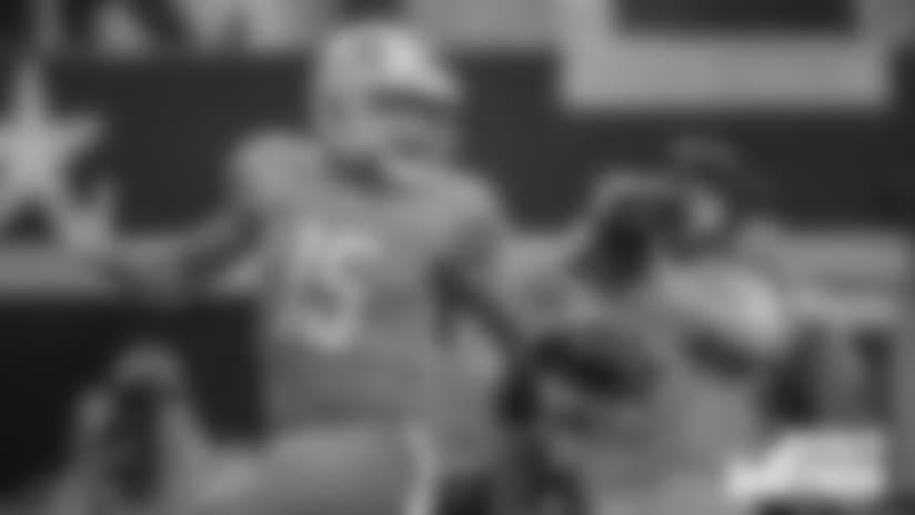 Detroit Lions wide receiver Golden Tate (15) scores a touchdown during a NFL football game against the Dallas Cowboys on Sunday, Sept. 30, 2018 in Arlington, Texas. (Detroit Lions via AP).