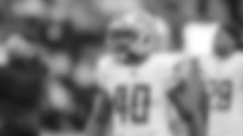Detroit Lions linebacker Jarrad Davis (40) before a NFL football game against the Minnesota Vikings Sunday, Dec. 8, 2019 in Minneapolis. (Detroit Lions via AP).