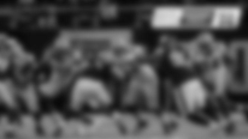 Packers T Bryan Bulaga, G Billy Turner, C Corey Linsley and G Elgton Jenkins block the Minnesota Vikings' defensive line in Monday night's game at U.S. Bank Stadium.