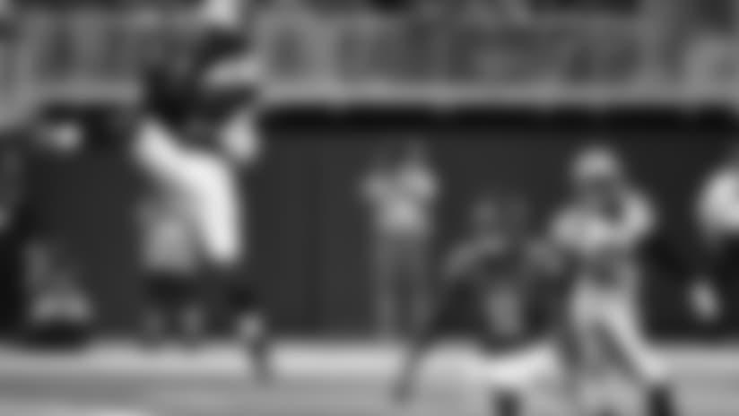 Carolina Panthers cornerback Donte Jackson (26) intercepts the ball ahead of Atlanta Falcons wide receiver Julio Jones (11) during the second half of an NFL football game, Sunday, Sept. 16, 2018, in Atlanta. (AP Photo/John Amis)