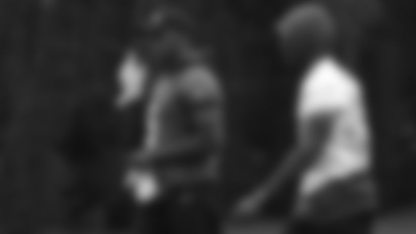 Xavier Rhodes and Teddy Bridgewater during a Vikings practice.