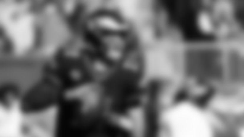 Philadelphia Eagles quarterback Carson Wentz (11) in action during the the NFL football game against the Chicago Bears, Sunday, Nov. 3, 2019, in Philadelphia. The Eagles won 22-14. (AP Photo/Chris Szagola)