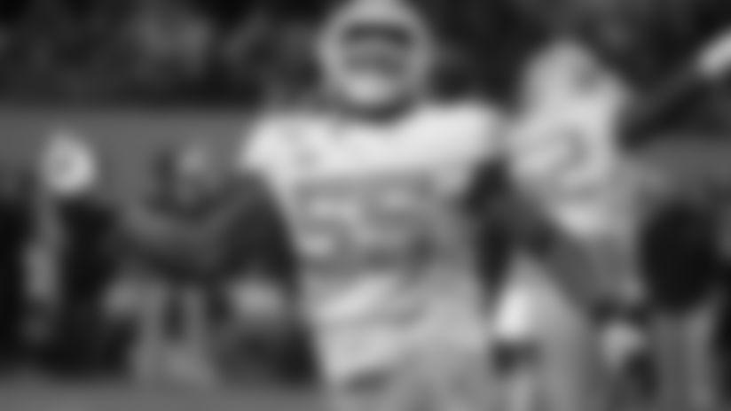 North Carolina's Jason Strowbridge (55) celebrates following a sack against North Carolina State during the second half of an NCAA college football game in Raleigh, N.C., Saturday, Nov. 30, 2019. (AP Photo/Karl B DeBlaker)