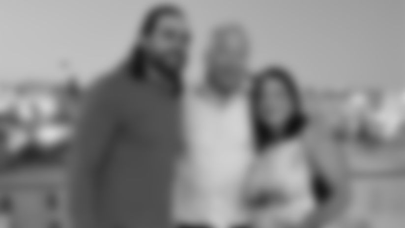 Nate Ebner, Patriots owner Robert Kraft, and Ann Bailin in Israel, June 2019.