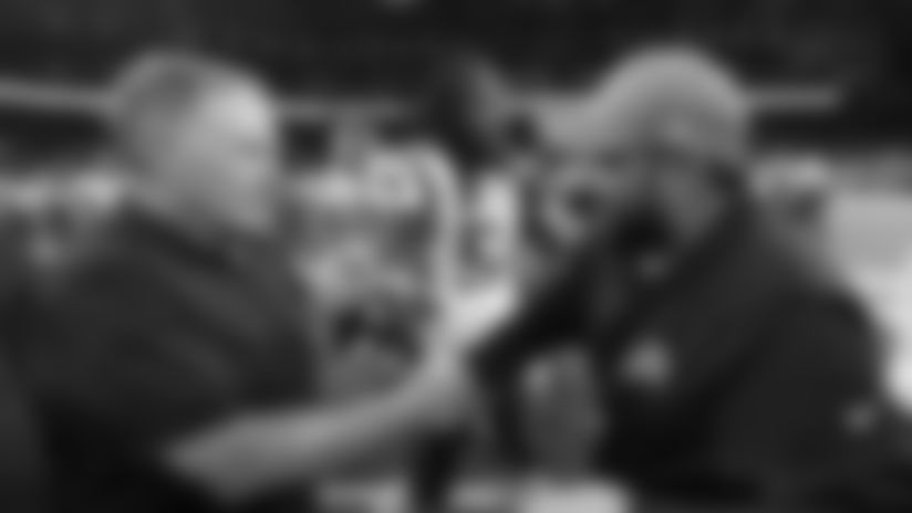 New England Patriots coach Bill Belichick, left, greets Detroit Lions coach Matt Patricia after a preseason NFL football game Thursday, Aug. 8, 2019, in Detroit. (AP Photo/Paul Sancya)