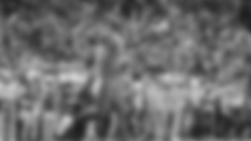 Baylor safety Chris Miller celebrates a turnover by Oklahoma during an NCAA college football game in Waco, Texas, Saturday, Nov. 16, 2019. Oklahoma won 34-31. (AP Photo/Ray Carlin)