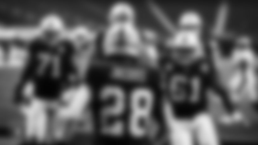 View director of photography Michael Clemens' top picks of black and white photos from the Raiders' Week 10 victory against the Denver Broncos at Allegiant Stadium.
