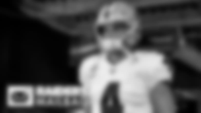 The Las Vegas Raiders huddle in the locker room after the Las Vegas Raiders regular season home game against the New Orleans Saints.