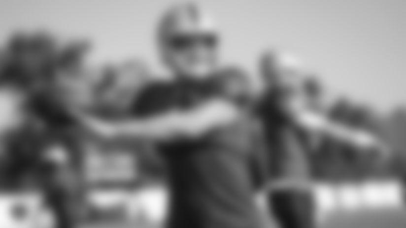 Raiders quarterback Derek Carr (4) passes during practice.