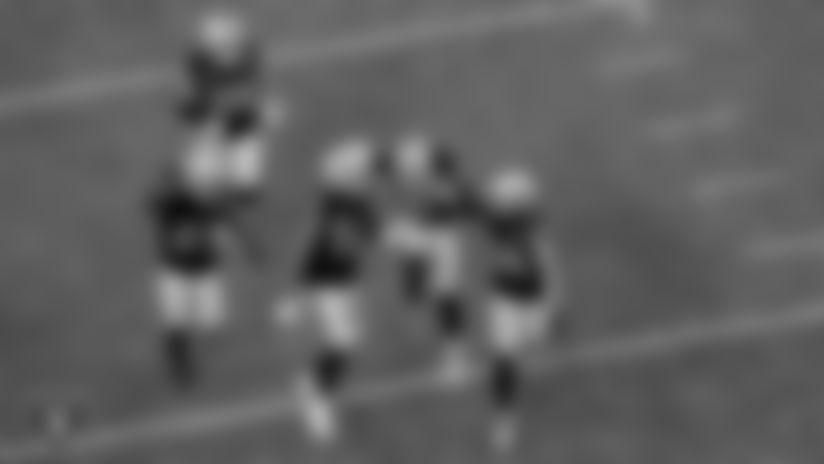 Las Vegas Raiders cornerback Trayvon Mullen (27), safety Erik Harris (25), linebacker Raekwon McMillan (54), safety Jeff Heath (38) and safety Johnathan Abram (24) during the regular season game against the Denver Broncos at Allegiant Stadium.