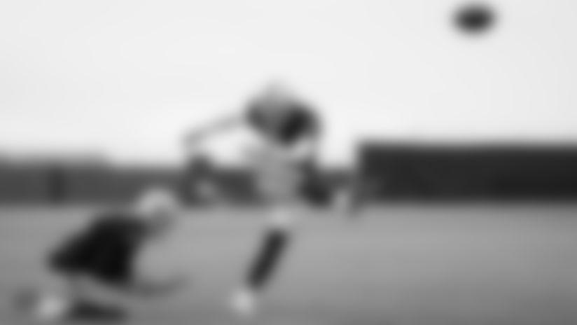 Raiders kicker Daniel Carlson (8) kicks a field goal during a walkthrough.