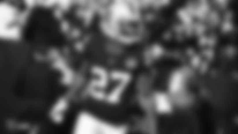 Raiders cornerback Trayvon Mullen (27) celebrates during the regular season game against the Jacksonville Jaguars.