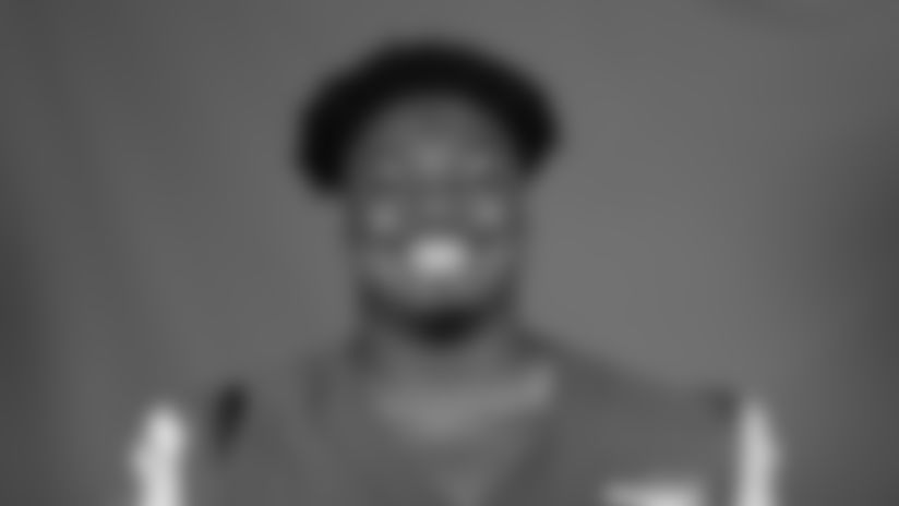 This is a 2020 photo of Tremayne Anchrum Jr. of the Los Angeles Rams NFL football team.  This image reflects the Los Angeles Rams active roster as of August 8th, 2020 when this image was taken. (Los Angeles Rams)