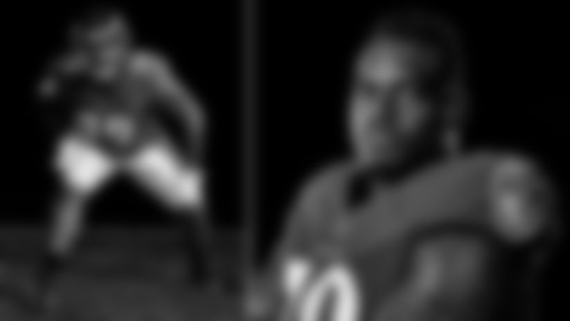 Two photos of Ronnie Stanley at a 2019 photo shoot (Baltimore Ravens/Shawn Hubbard)