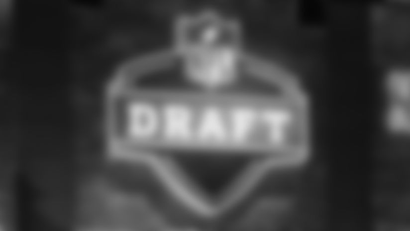 A general view of the NFL Draft logo on the main stage during the second round of the NFL football draft, Friday, April 26, 2019, in Nashville, Tenn. (AP Photo/Steve Luciano)