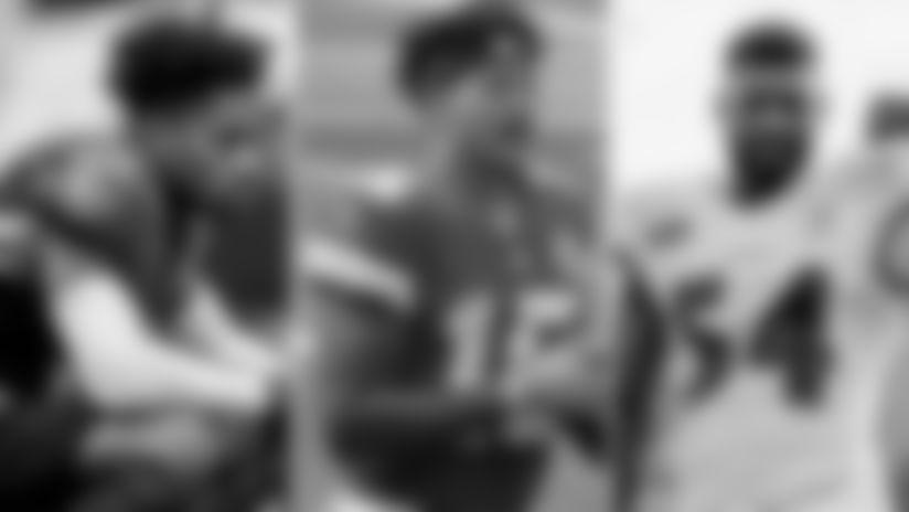 Left: S DeShon Elliott; Center: Chiefs QB Patrick Mahomes; Right: OLB Tyus Bowser