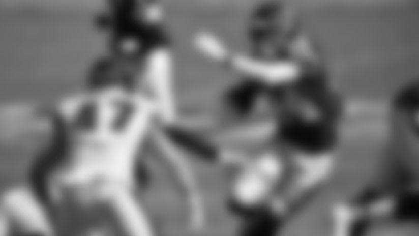 Washington Football Team running back Antonio Gibson (24) and Philadelphia Eagles linebacker Nate Gerry (47) in action during an NFL football game, Sunday, Sep. 13, 2020 in Landover, Md. (Alika Jenner/NFL)