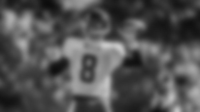 Quarterback Kyle Allen drops back for a pass during practice on Oct. 7, 2020. (Elijah Walter Griffin Sr./Washington Football Team)