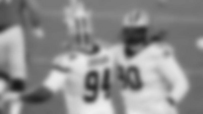 New Orleans Saints defensive end Cameron Jordan sacks Denver Broncos quarterback Kendall Hinton in Week 12 of the 2020 NFL season.