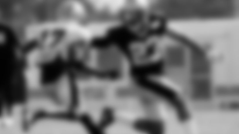 "New Orleans Saints cornerback <forge-entity title=""Marshon Lattimore"" slug=""marshon-lattimore"" code=""player"">Marshon Lattimore</forge-entity> covers wide receiver <forge-entity title=""Emmanuel Sanders"" slug=""emmanuel-sanders"" code=""player"">Emmanuel Sanders</forge-entity> during drills at Saints Training Camp practice on August 17, 2020."
