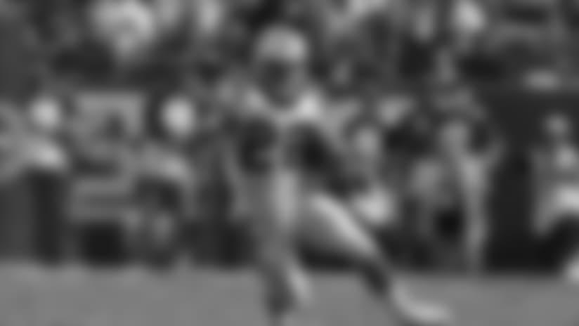 Carolina Panthers running back Christian McCaffrey (22) during an NFL regular season football game against the San Francisco 49ers on Sunday, Sept. 10, 2017 in Santa Clara, Calif. The Panther won, 23-3. (Ric Tapia via AP)