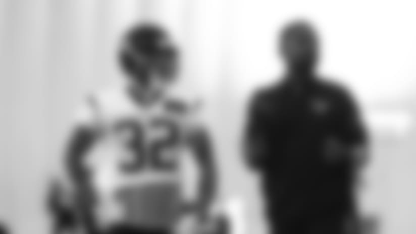 Houston Texans defensive back Tyrann Mathieu (32) alongside defensive backs coach Anthony Midget  during Houston Texans OTA's on May 30, 2018 at the Methodist Training Center in Houston. (Matt Patterson via AP)