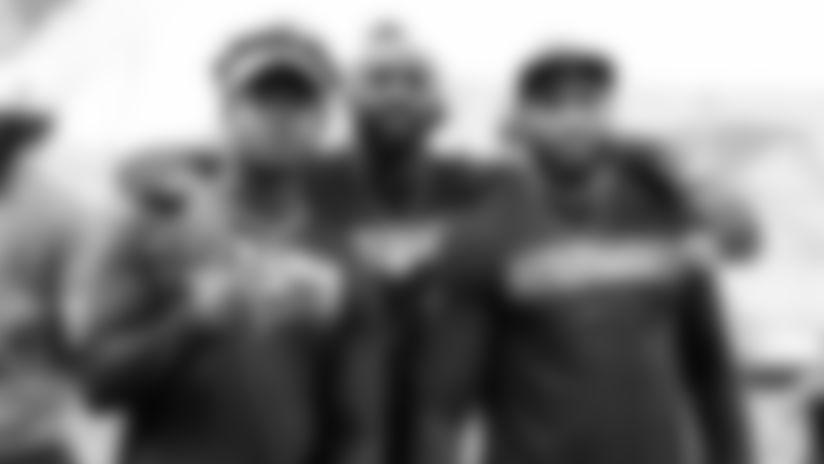 (L-R) Tennessee Titans linebackers Jayon Brown, Rashaan Evans and Wesley Woodyard