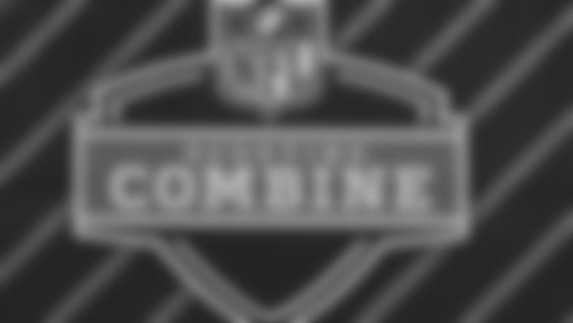 A detail view of Scouting Combine logo prior to the NFL football scouting combine on Thursday, March 1, 2018 in Indianapolis.