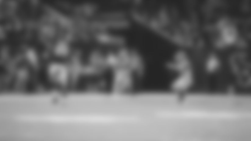 Ramon Richards falls under Joe Webb's deep pass for INT