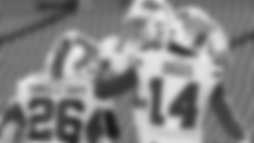 Josh Allen (17) touchdown Buffalo Bills vs Los Angeles Rams, September 27, 2020 at Bills Stadium. Photo by Bill Wippert