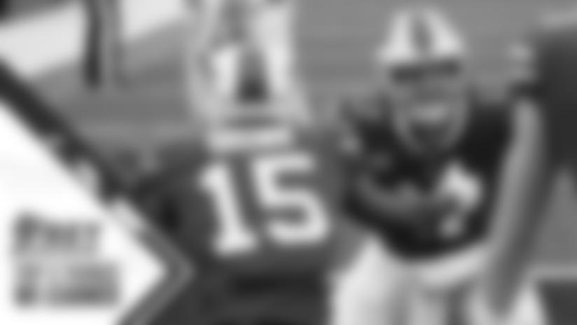 Josh Allen (17) celebrates the touchdown with John Brown (15). Buffalo Bills vs Miami Dolphins at Bills Stadium on January 3, 2021. Photo by Craig Melvin