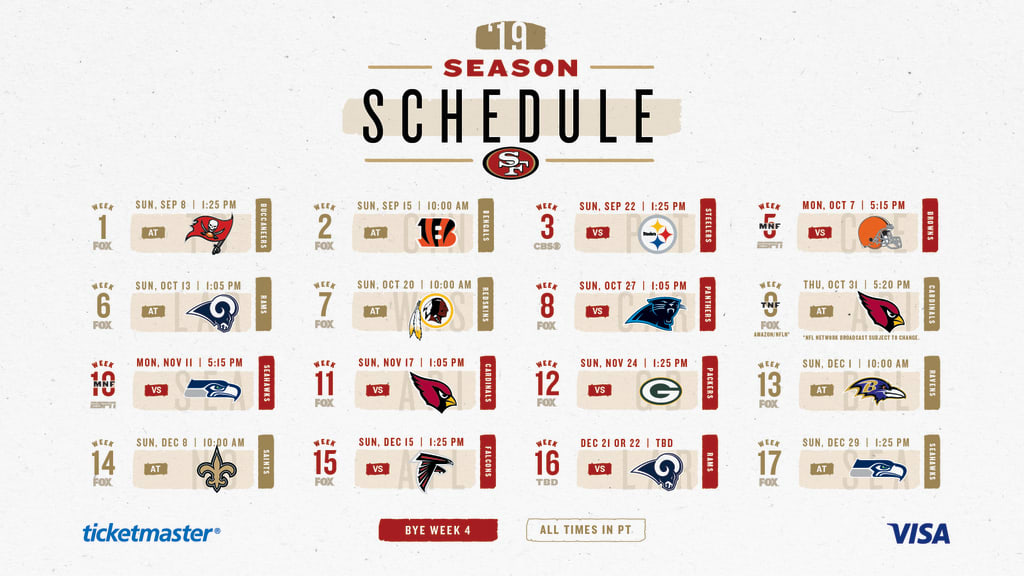picture regarding Nfl Week 15 Printable Schedule identify Video game-via-video game Notes for the 49ers 2019 Month-to-month Year Agenda