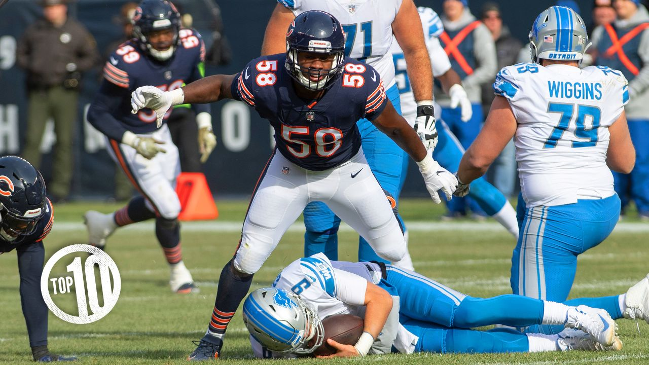 (10) Roquan Smith  The rookie linebacker is tied for the Bears lead with five tackles-for-loss, ranks second with 63 tackles and is tied for second with three sacks.