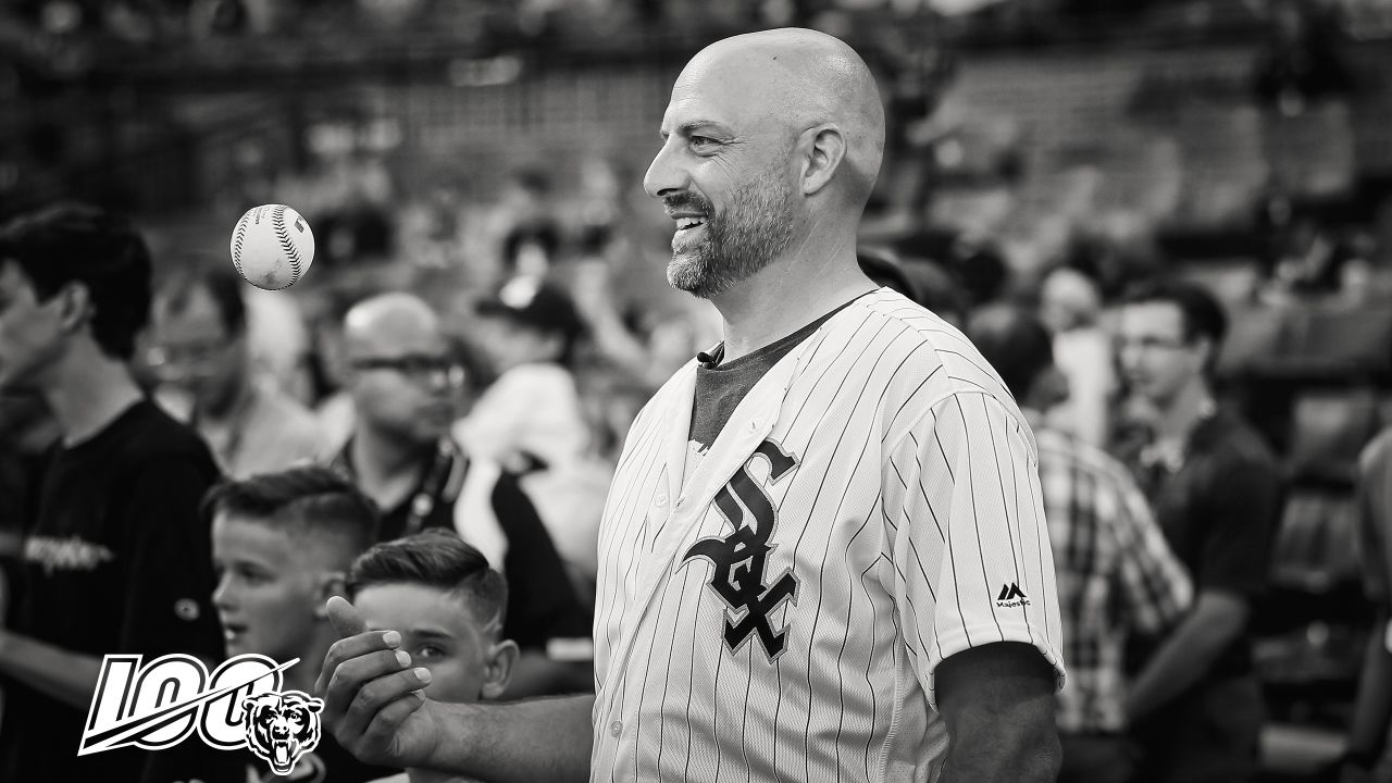 Chicago Bears head coach Matt Nagy throws out the first pitch at a Chicago White Sox game, Wednesday, July 3, 2019, in Chicago, Illinois.
