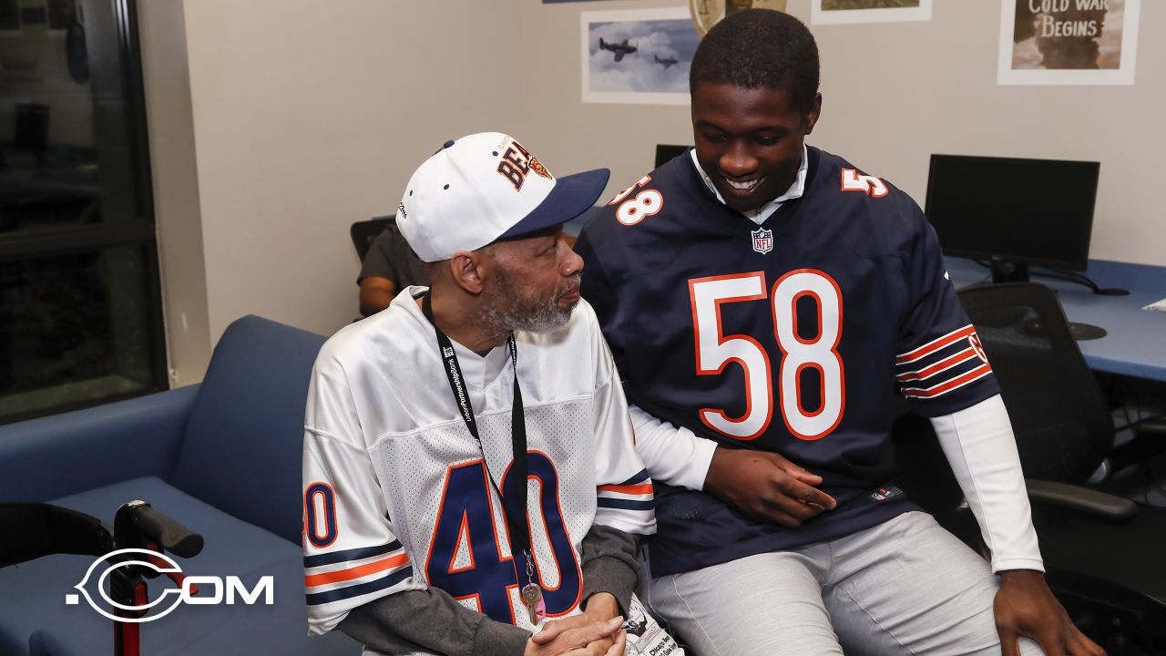 Members of the Chicago Bears visit with veterans at Hope Manor, Monday, November 5, 2018, in Chicago, Illinois.