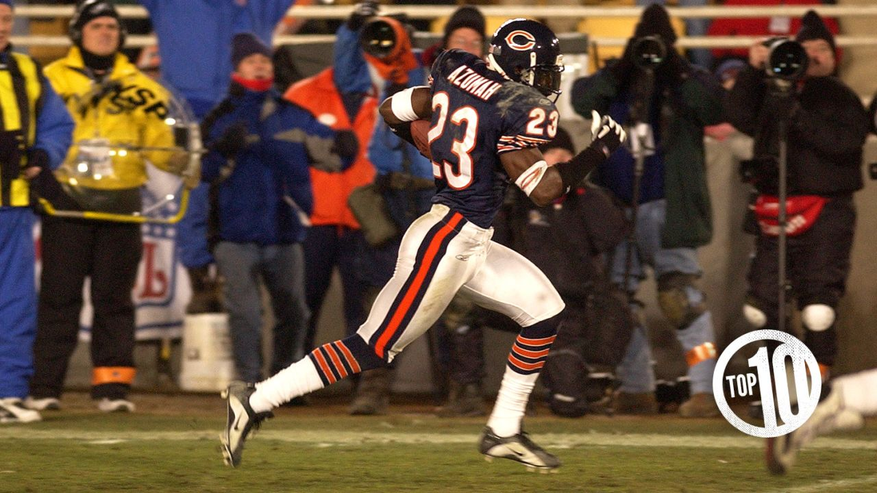 (10) Jerry Azumah  A Pro Bowl kick returner, Azumah had 10 interceptions in seven years with the Bears, and he returned a pick 39 yards for a touchdown in a 2001 playoff loss to the Eagles.