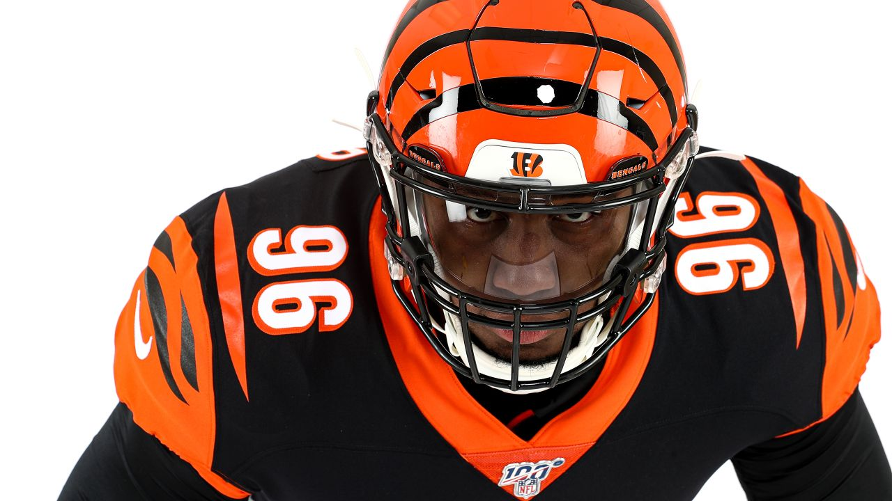 Cincinnati Bengals defensive end Carlos Dunlap (96) poses for a photo on media day, Monday, June 10, 2019 in Cincinnati. (Aaron Doster/NFL)