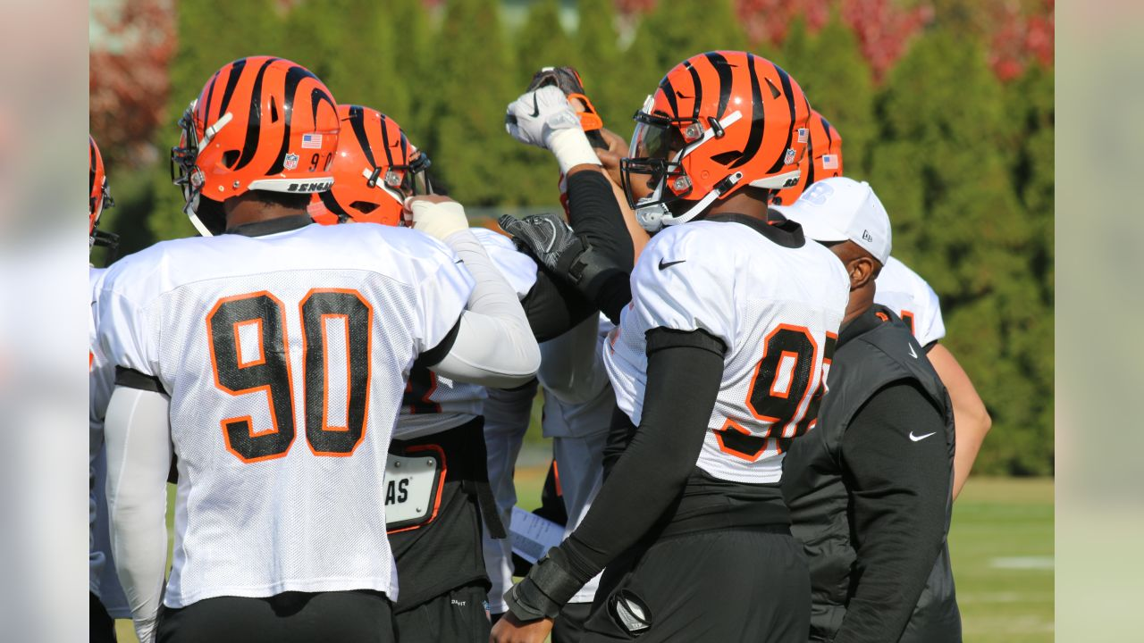 Michael Johnson, Carlos Dunlap and the defensive line at Wednesday's practice.