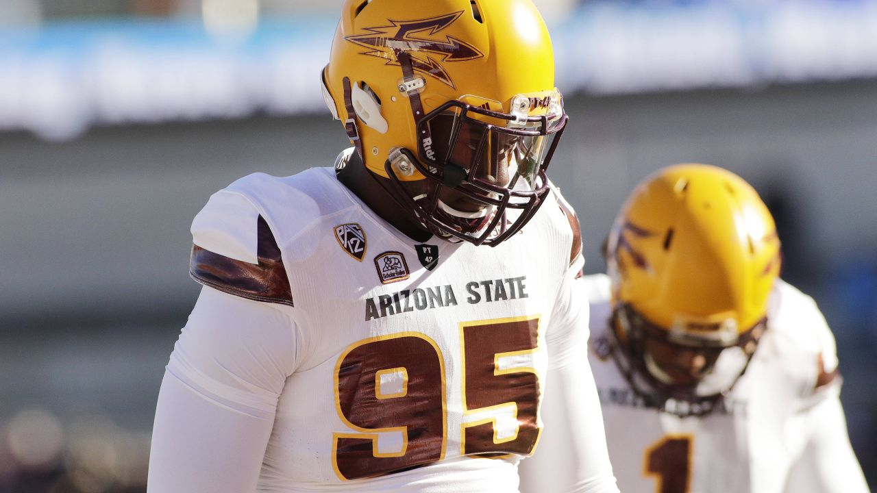 Arizona State defensive lineman Renell Wren (95) warms up before an NCAA college football game against Washington State, Saturday, Nov. 7, 2015, in Pullman, Wash. (AP Photo/Young Kwak)