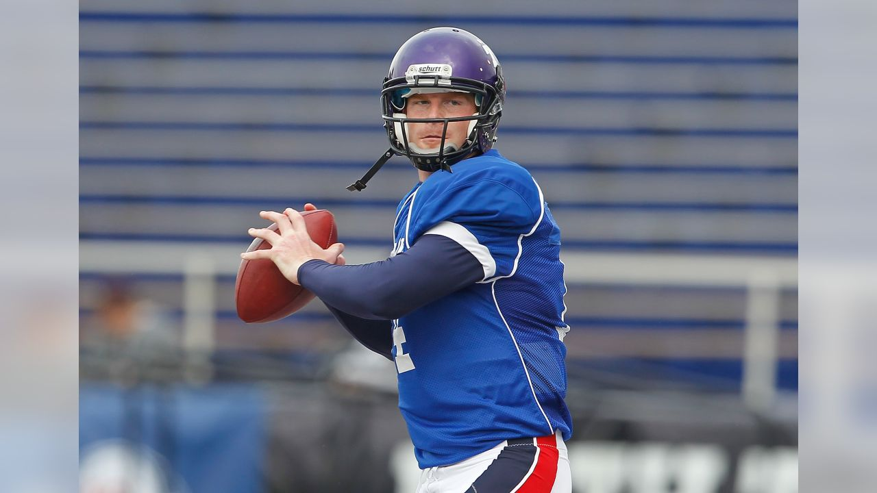 TCU quarterback Andy Dalton throws a pass during practice for the South team during the 2011 Under Armor Senior Bowl at Ladd Peebles Stadium in Mobile, Alabama on January 25, 2011. (AP Photo/Alix Drawec)