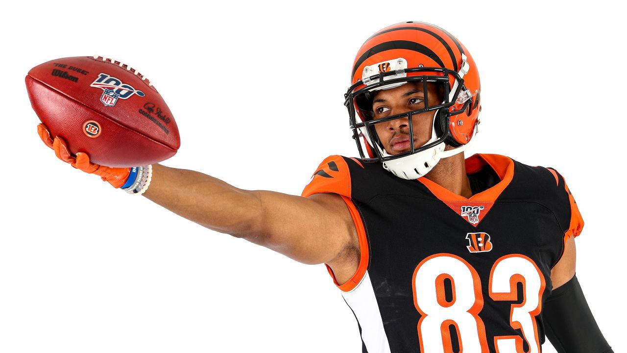 Cincinnati Bengals wide receiver Tyler Boyd (83) poses for a photo on media day, Monday, June 10, 2019 in Cincinnati. (Aaron Doster/NFL)