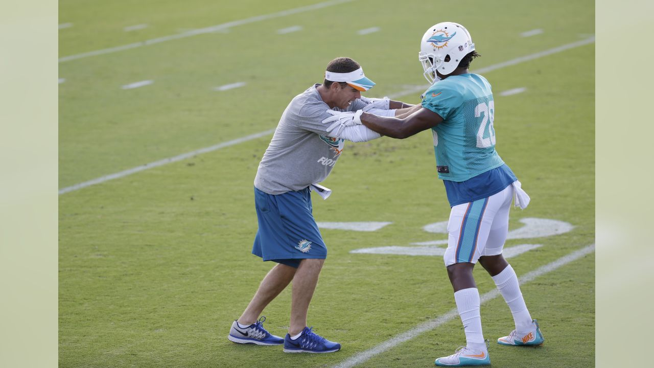 Miami Dolphins defensive backs coach Lou Anarumo, left, runs through drills with cornerback Bobby McCain (28) at the teams NFL football training camp, Wednesday, Aug. 5, 2015 in Davie, Fla. (AP Photo/Wilfredo Lee)