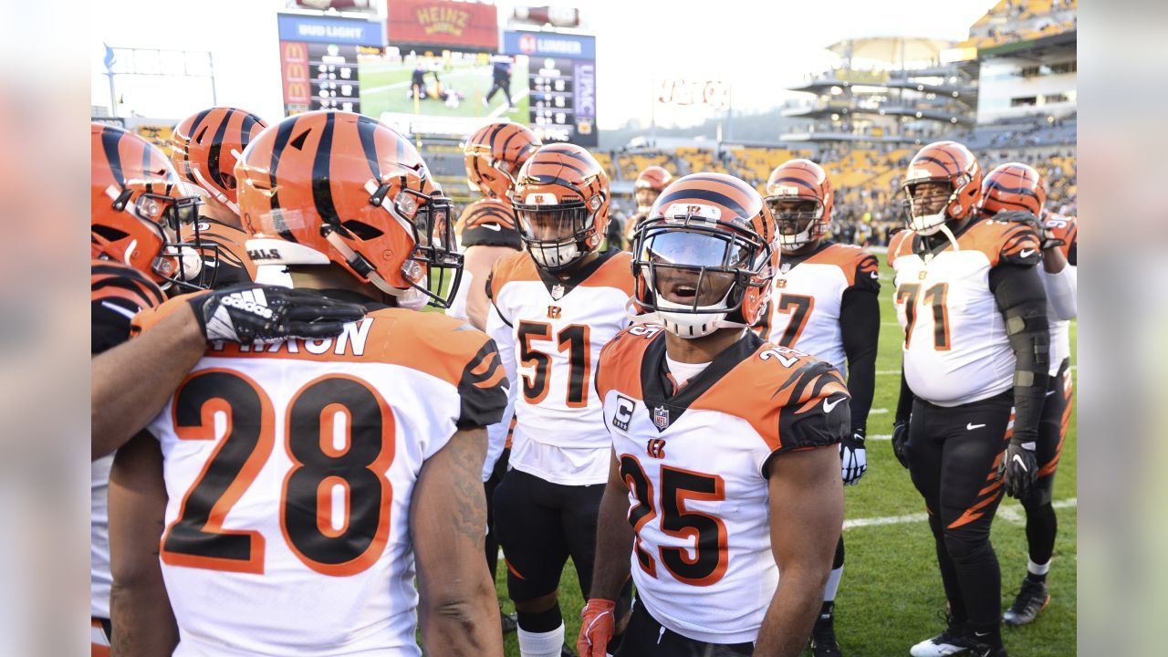 Cincinnati Bengals running back Giovani Bernard (25) huddles up with teammates prior to an NFL football game against the Pittsburgh Steelers, Sunday, Dec. 30, 2018 in Pittsburgh. (Ryan Meyer via AP)