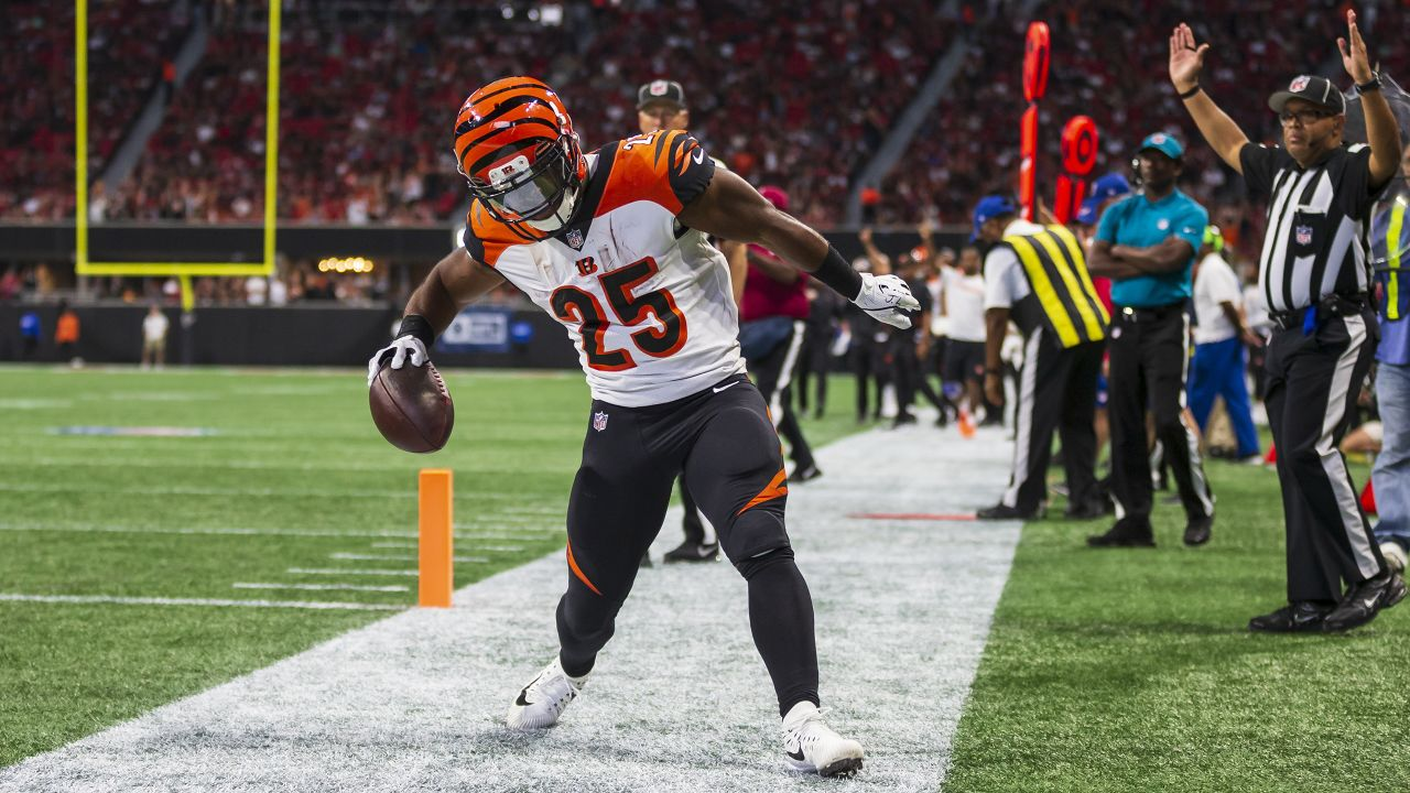 Cincinnati Bengals running back Giovani Bernard (25) celebrates scoring a touchdown during an NFL football game against the Atlanta Falcons, Sunday, September 30, 2018, in Atlanta. The Bengals won 37-36. (Paul Abell via AP)